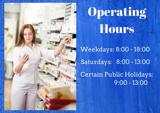 Eastpark Pharmacy operating hours: Weekdays 8-6  Saturdays 8-1  Holidays 9-1